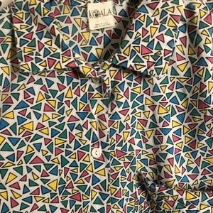 Vintage Tops - Vintage 80s patterned button down shirt - Sz L